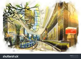 sketch perspective interior design sketches painting stock