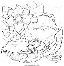clip art of a cute black and white thumbelina coloring page