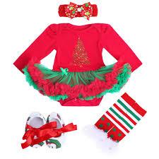 4pcs newborn baby christmas tree romper bodysuit dress