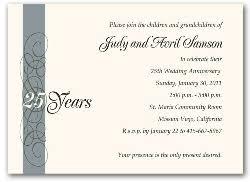 25th wedding anniversary invitations 25th wedding anniversary