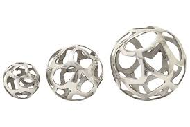 Large Silver Decorative Bowl 3 Piece Set Aluminum Decorative Balls Living Spaces