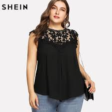 sleeveless blouses shein plus size black lace sleeveless blouse summer keyhole