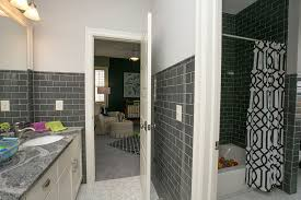 Modern Tiled Bathrooms - grey subway tile bathroom contemporary with brown glass gray