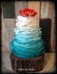 ombré turquoise ruffle wedding cake cake by skmaestas cakesdecor