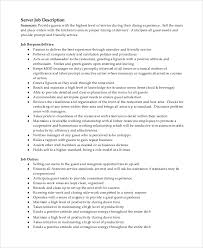 Server Duties On Resume Sample Server Job Description 8 Examples In Pdf