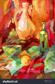 modern kitchen art paintings painting still life antique modern kitchen stock illustration