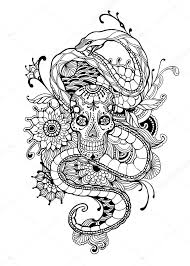 skull and snake coloring page skull snake