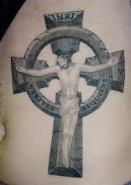 jesus christ on stone cross tattoo tattooimages biz