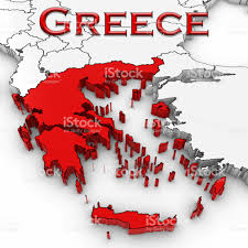 Greece On World Map 3d Map Of Greece With Country Name Highlighted Red On White