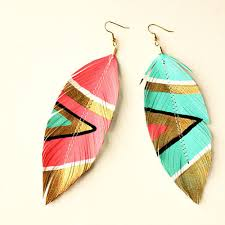 feather earrings s neon aztec faux leather feather earrings electric pink blue