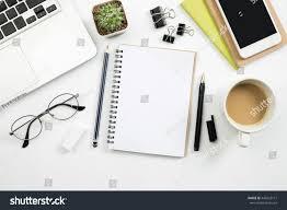 Modern White Office Desk Modern White Office Desk Table Laptop Stock Photo 443923171