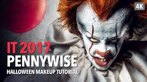 it 2017 pennywise halloween makeup tutorial youtube