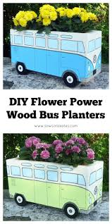 volkswagen bus painting diy flower power painted wood bus planter
