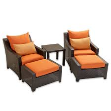 Patio Chairs With Ottomans Amazon Com Rst Brands Op Peclb5 Tka K Deco 5pc Club Chair
