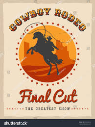 cowboy rodeo poster vector illustration american stock vector