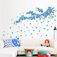 popular blue flower wall buy cheap blue flower wall lots from blue plum flowers wall stickers home decor kids room living room bedroom 3d vinyl wall