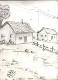 pencil sketch nature freehand drawing drawingpencil artistic stock