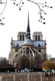 paris enthusiastical great flying buttresses arc out from the rear of the cathedral of notre dame to support