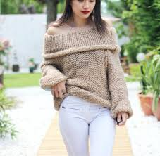 oversized shoulder sweater 2018 fashion shoulder casual pullover sweater