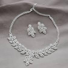 rhinestone necklace earrings images Wedding stylish leaves design alloy and rhinestone necklace stud jpg