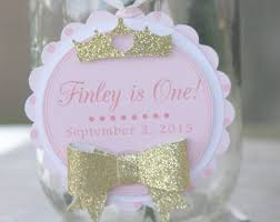 princess party thank you tags favor tags 1st birthday party