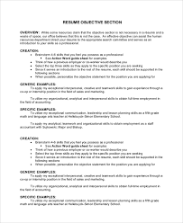 Sample Resume Objectives For Internships by Sample Objective 40 Examples In Pdf Word