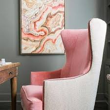 Accent Chair For Desk Pink And Gray Office With Warm Pink Velvet Two Tone Wingback Chair