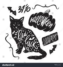set halloween elements your design silhouette stock vector