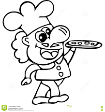 cook with pizza kids coloring pages stock illustration image