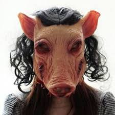 halloween hair and pig scary horror mask masquerade adults funny