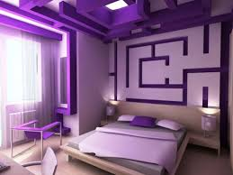 apartment bedroom minimalist design with purple color neoteric and