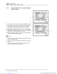 audi a8 2003 d3 2 g auxiliary heater workshop manual