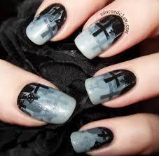 halloween nails misty graveyard halloween nail art the adorned claw