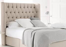 bedroom rectangle dark brown wooden headboard with white grey