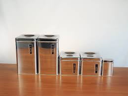 lincoln beautyware chrome kitchen canister set mid century retro