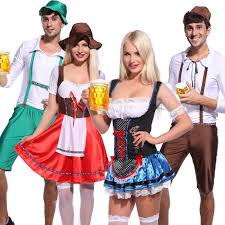 Bavarian Halloween Costumes Mens Ladies Oktoberfest German Beer Maid Wench Costume Halloween