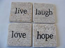 Live Laugh And Love by Live Laugh Love Hope Natural Tile Coaster Set Of 4 Home