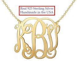 gold monogram gold monogram necklace etsy