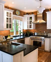 brick kitchen ideas modern brick kitchen backsplash idea with black countertop 8803