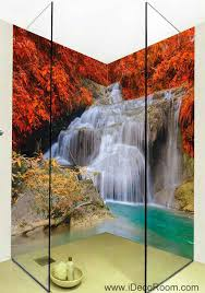 3d Wallpaper Home Decor by 3d Wallpaper Red Leaves Waterfall Wall Murals Bathroom Decals Wall