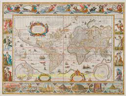 Mercator World Map by Rare Antique World Map Blaeu Original Engraving