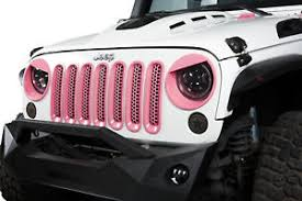 white and pink jeep 7pcs pink abs front grill mesh grille insert kit for jeep wrangler