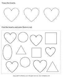 trace hearts and color them worksheet turtle diary