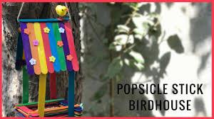 diy popsicle stick birdhouse youtube