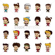 free in different costumes from around the world vector image