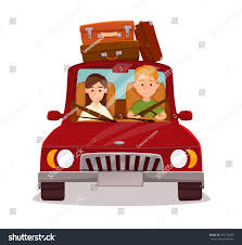 happy couple car trip young family stock vector 474772396