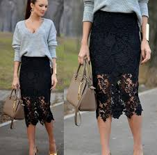 lace skirt 2018 black lace skirt knee length pencil midi skirts new arrival