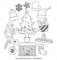 christmas icon outline vector illustration stock vector