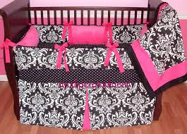 Bright Pink Crib Bedding by Pink And Black Damask Bedding