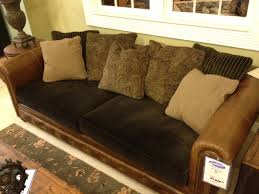 Leather Sofa Fabric Brown Leather Sofa With Fabric Cushions Fjellkjeden Net